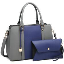 Women Medium Satchel Two-Tone Handbag Shoulder Bag + Matching Wallet Purse
