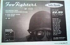 """FOO FIGHTERS My Hero (Andys) 1996 UK Press ADVERT 12x8"""""""