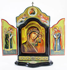 Triptych Kazanskaya Holy Mother of God Orthodox Hand painted Lacquer Mstera #18