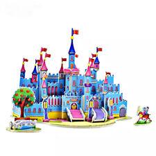 3D DIY Cartoon Fairytale Blue Castle Puzzle Jigsaw Kids Fun Toys & Hobbies Gift.