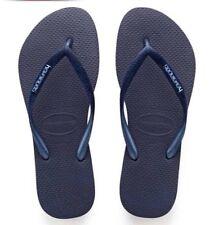 Havaianas woman lady Navy Strap Blue Rubber flipflop thong sandal NEW