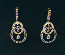 Large Gemstone Earrings - Genuine Amethyst & Pink Tourmaline - 14K Yellow Gold
