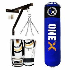 5ft Filled Heavy Duty Punch Bag Boxing gloves,Bracket,Chains,MMA Material Arts