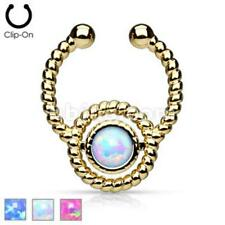 FAKE Non-Piercing Gold Roped Circle with Single Opalite Gem Septum Hanger Ring