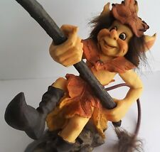 "Large 8"" Troll with Tail Sweden Holding Fishing Pole Agora Gifthouse Scandinavia"