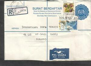 West Malaysia 1987 registered Surat Berdaftar cover Taman Ipoh to Turku Finland