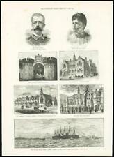"1888 - Antique Print MERSEY New Brighton Great Eastern ""Sleddall"" Kendal   (239)"