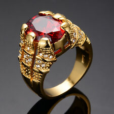 10*14MM Ruby Ring Red CZ Size 6-10 Men's Women's 10kt Yellow Gold Filled Wedding