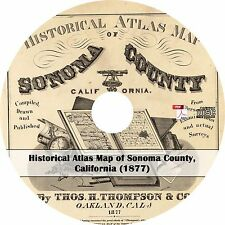 1877 Atlas & Plat Maps of Sonoma County, California -  15 Maps Book on CD