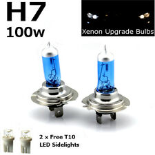 H7 100w SUPER WHITE XENON (499) 12v DIPPED Head Light Bulbs + 501 LED Sidelights