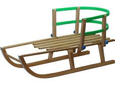 Holzschlitten mit Rückenlehne für Kinder Schlitten 88cm lang Rodel Sitz Lehne