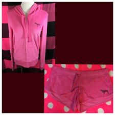 Victoria's Secret PINK Bling Sequin Terry Beach Hoodie Jacket & Shorts M NWT