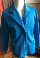 Vtg 60s 1970s JANTZEN Aqua Blue Suit Jacket Blazer Women's Plus Size 18 Retro