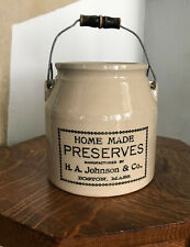 H. A. Johson & Co.  Home made Preserves Wired handle crock