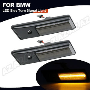 For BMW E36 E34 E24 E32 3 5 6 7 Series Amber LED Side Maker Signal Light Smoked