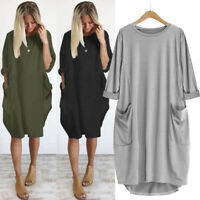 Women Pocket Loose Dress Ladies Round Neck Casual Baggy Long Tops Dress Plus NEW