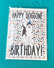 Alaskan Malamute Dog Happy Doggone Birthday Card Funny Celebration Note Card