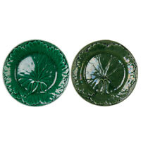 TWO ANTIQUE GREEN GLAZED LEAF POTTERY PLATES 19TH C.