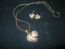 Crazy Feng goldtone and simulated diamond necklace and earring set