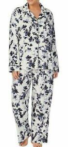 NWT Donna Karan White/Black/Purple FLORAL Stretch Velour Pajama Set 2X POCKETS