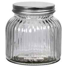 Set of 2 Etched Glass Jars with Metal Lids, 24 oz.