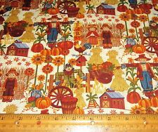 1 yard of HAY STACKS PUMPKINS SCARECROWS BARN SUNFLOWERS on 100% Cotton Fabric