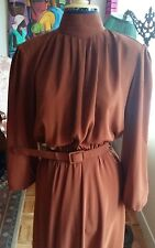 Vintage brown copper high collar A line midi fall dress with belt M-L