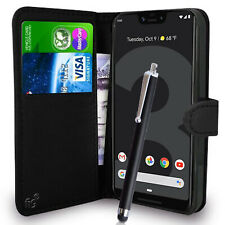 Black Wallet Flip Case Pouch PU Leather Cover for Google Pixel 3 XL Mobile 6.3""