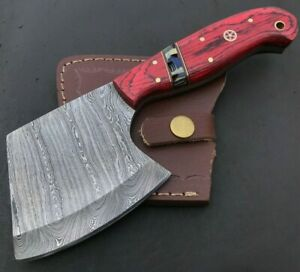 Handmade Damascus Steel Viking Axe-Camping-Outdoors-Leather Sheath-MD141