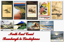 NORTH EAST BAMBURGH TO LINDISFARNE - TRAVEL POSTER POSTCARD SET # 1
