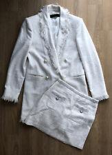 Zara White Cream Tweed Boucle Coat & Skirt Co Ord Set - Size Small