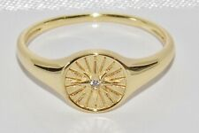 9ct Yellow Gold on Silver Diamond Compass Signet Ring - ALL SIZES