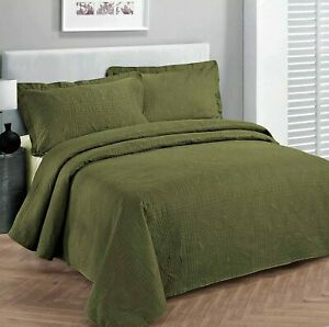 Olive Green 3 pc Quilt Set Bedspread Twin XL Full Queen Cal King Bed Coverlet