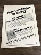 1979 VINTAGE 8X11 PRINT Ad FOR BRIAN ENO MUSIC AIRPORTS+999 HIGH ENERGY PLAN