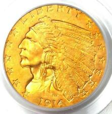 1914 Indian Gold Quarter Eagle $2.50 Coin - Certified PCGS AU50 - Rare Coin!