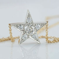 "1.50 Ct Round Diamond Star Pendant Necklace 18"" Chain 14k Two-Tone Gold Finish"