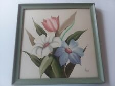 SIGNED VINTAGE RUBEN KUPUR WATERCOLOR OF FLOWERS -  MOSS FRAME