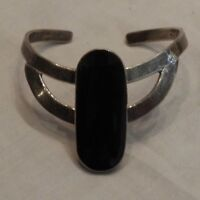 Vintage Mexican Sterling Silver and Onyx Cuff Bracelet