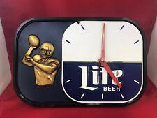 Vintage Miller Lite Football Wall Shelf Clock Man Cave Bar Decor *As-Is* Repair