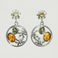 5.22g UNIQUE Natural Authentic BALTIC AMBER 925 Sterling Silver Earrings