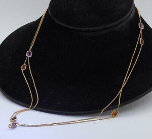 "Heavy 14K gold 9.0CTW citrine garnet amethyst peridot X-long 50"" chain necklace"