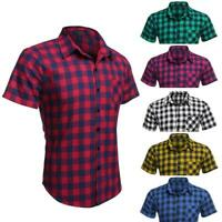 Tops COOFANDY Shirts Men T-shirts Plaid Slim Fit Short Sleeve Turndown CLSV01 06
