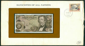 BANKNOTES OF ALL NATIONS AUSTRIA 20 Schilling 1980 UNC with Stamp on envelope
