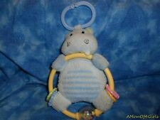 """Carter's Blue HIPPO 7"""" Plush Baby Toy"""
