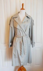 Maggie Lawrence Collection Women's Gray Trench Rain Coat w Belt Size 12