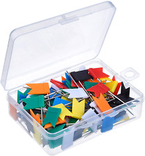 Outus 100 Pieces Map Flag Push Pins Tacks Assorted 7 Colors