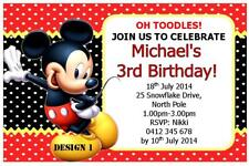 1 x MICKEY MOUSE BOYS BIRTHDAY PERSONALISED INVITATIONS PARTY + FREE MAGNETS