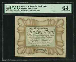 Germany : 50 Mark 1918 ; PMG : Choice UNC 64