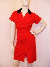 Beautiful Red Hand made dress w/ Black Collar