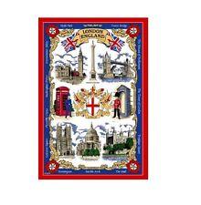 London Tea Towel Souvenir Gift Big Ben Tower Bridge Red Collage Landmarks Scenes